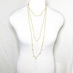 ***Gold Knit Necklace Strung & Pearls Extra Long